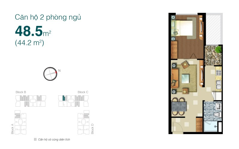 Thiết kế nội thất chung cư Lexington 48.5m2 – anh Ngọc Anh