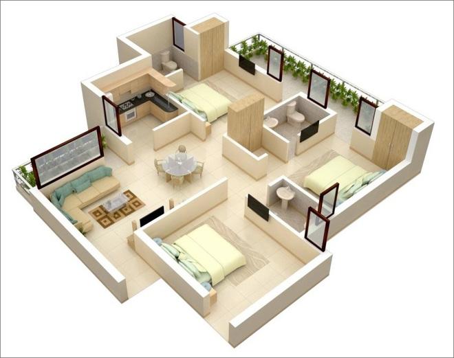 9 mẫu căn hộ 3 phòng ngủ vừa đẹp, vừa hợp lý cho các gia đình đông người