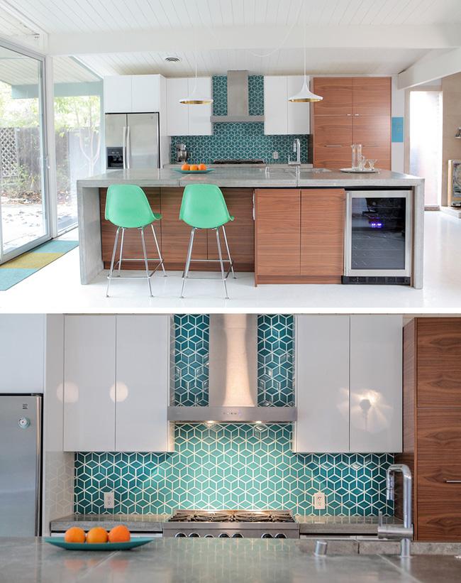 9 mẫu gạch ốp nhà bếp theo phong cách hình học cho chị em tùy ý lựa chọn